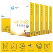 HP Printer Paper, All In One22, 8.5 x 11 Paper, 22lb, 96 Bright - 5 Ream / 2,500 Sheets (207000C)