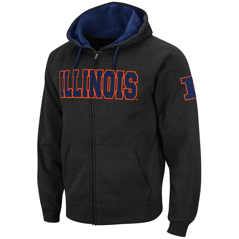 Mens Illinois Fighting Illini Full Zip Hoodie - M