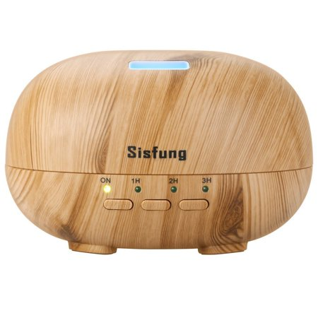 Essential Oil Diffuser - 300mL Ultra Quiet Wood Grain Aromatherapy Diffuser - Ultrasonic Cool Mist, Waterless Auto Shut-off, 7 Color