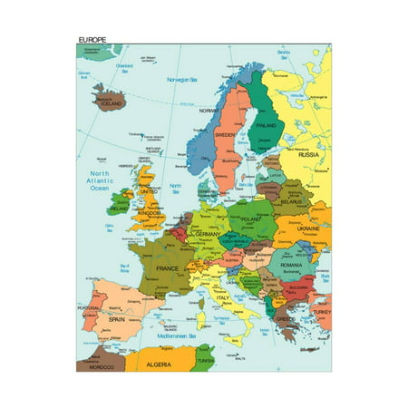 World Earth Europe Continent Country Map Print Wall Art By (Europa Art)