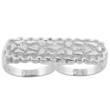 Sterling Silver Two Finger Nugget Ring 7/16 inch wide, sizes 8 - - Sterling Silver Finger