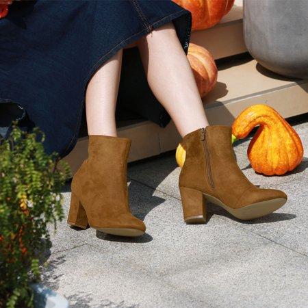 BC71429 Women Round Toe Side Zipper Block Heel Ankle Boots Brown/US 8 - image 7 de 7