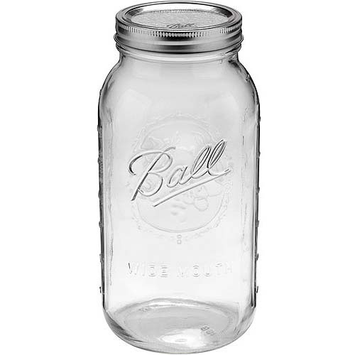 Ball Glass Mason Jar with Lid and Band, Wide Mouth, 64 Ounces, 6 Count