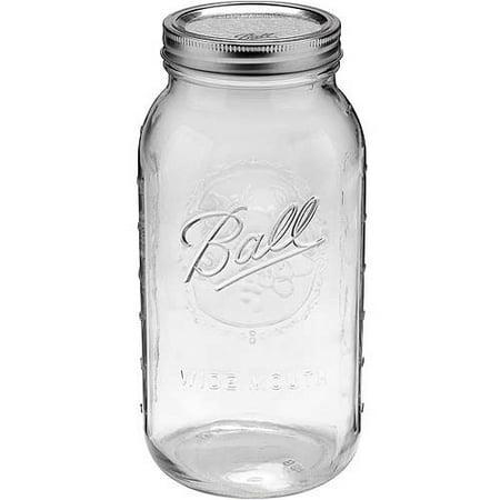 Ball Glass Mason Jar w/ Lid & Band, Wide Mouth, 64 Ounces, 6 Count - Glass Food Jars