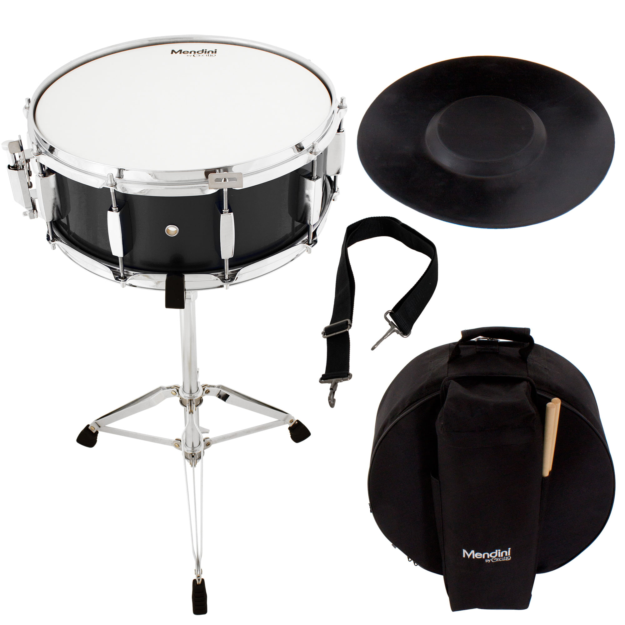 Mendini by Cecilio Student Snare Drum Set with Gig Bag, Sticks, Stand and Practice Pad Kit, Black by Cecilio Musical Instruments