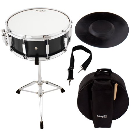 Mendini by Cecilio Student Snare Drum Set with Gig Bag, Sticks, Stand and Practice Pad Kit, Black
