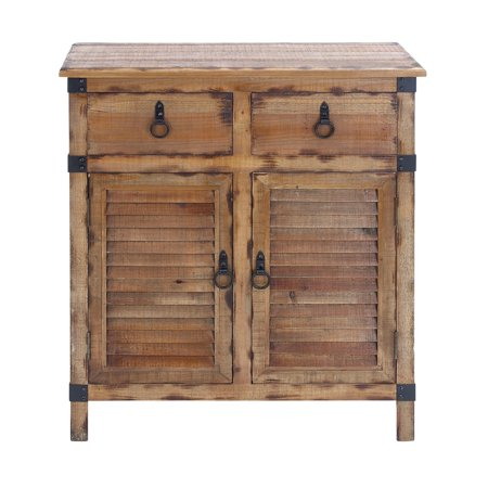 Decmode Natural 36 Inch Wood Cabinet With Storage Louvered Cabinet