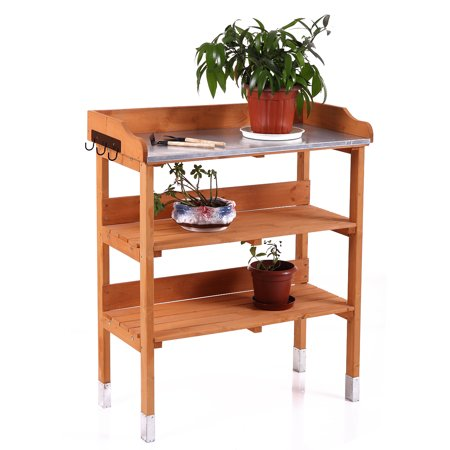 Pleasant Lazymoon Potting Bench Outdoor Fir Wood Garden Planting Station W Hook And Storage Shelf Pabps2019 Chair Design Images Pabps2019Com