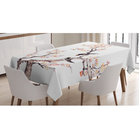 Art Tablecloth, Traditional Chinese Paint of Flowers Plum Blossom Birds on Tree Romance Print, Rectangular Table Cover for Dining Room Kitchen, 52 X 70 Inches, Pale Yellow Brown, by Ambesonne