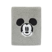 Disney Mickey Mouse Super Soft Plush Sherpa Baby Blanket with Applique, Grey