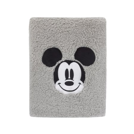 Disney Mickey Mouse Super Soft Plush Sherpa Baby Blanket with Applique, Grey (Disney Mickey Mouse Baby)
