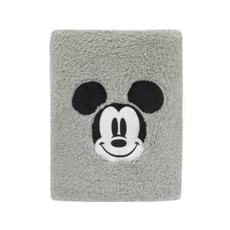 Disney Mickey Mouse Super Soft Plush Sherpa Baby Blanket with Applique, Grey](Mickey Mouse Baby)