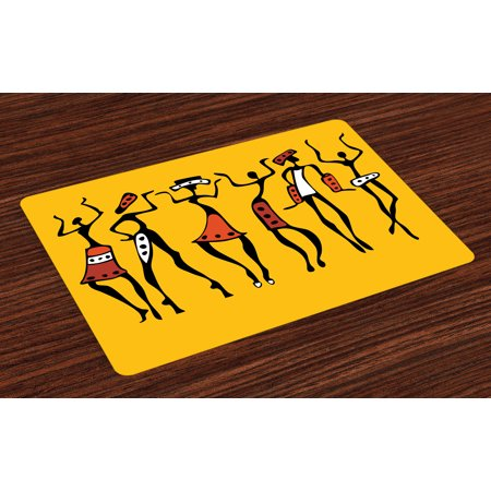African Placemats Set of 4 African Dancers Sketchy Characters Ethnic Group Clan Disco Happy Graphic, Washable Fabric Place Mats for Dining Room Kitchen Table Decor,Mustard and Orange, by Ambesonne (Groups Of Four)
