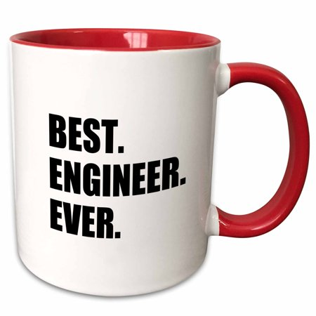3dRose Best Engineer Ever - fun gift for engineering job - black text - Two Tone Red Mug,