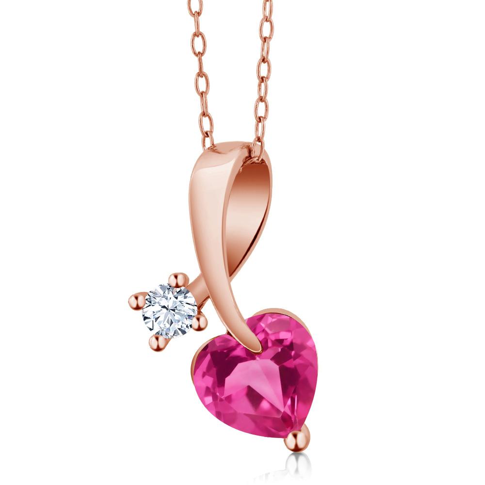 1.41 Ct Heart Shape Pink Mystic Topaz 18K Rose Gold Pendant by