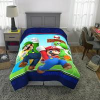 Super Mario Microfiber Comforter, Kids Bedding, Mario Luigi and Yoshi, TWIN
