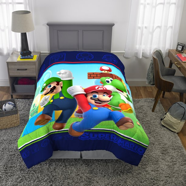 Super Mario Microfiber Comforter, Kids Bedding, Mario Luigi and Yoshi, TWIN