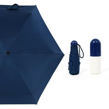 Mini Capsule Umbrella Travel Pocket Rain Strong Dual-purpose Waterproof Windproof Five-folding Umbrellas Compact Anti-UV Sunshade Paraguas Dual Function Umbrella