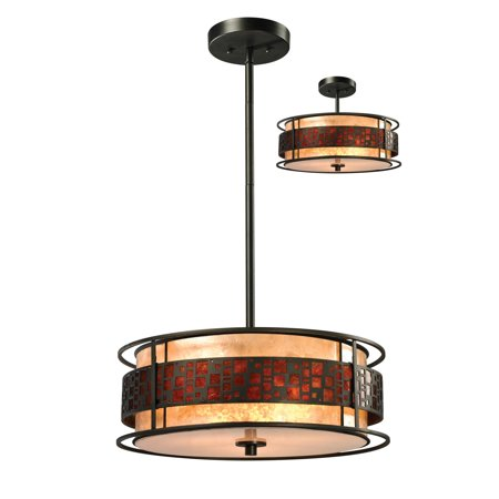 Z-Lite Z18-50P-C Milan 3-Light Full Sized Pendant with White and Amber Mica Shade