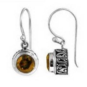 Sterling Arts Handmade Sterling Silver Bali Faceted Round Shape Citrine Earrings (Indonesia)