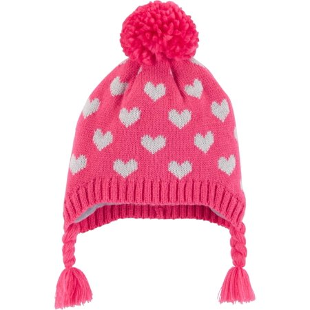 Carter's Little Girls' Heart Pom Pom Hat, Pink, 2T-4T