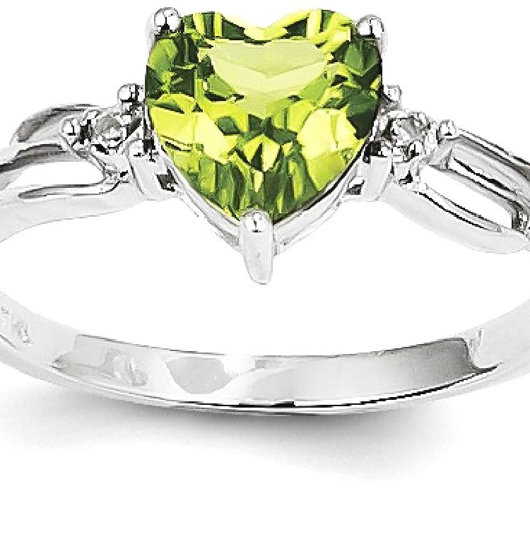ICE CARATS 14kt White Gold Diamond Green Peridot Heart Band Ring Size 7.00 S/love Stone Gemstone Fine Jewelry Ideal Gifts For Women Gift Set From Heart