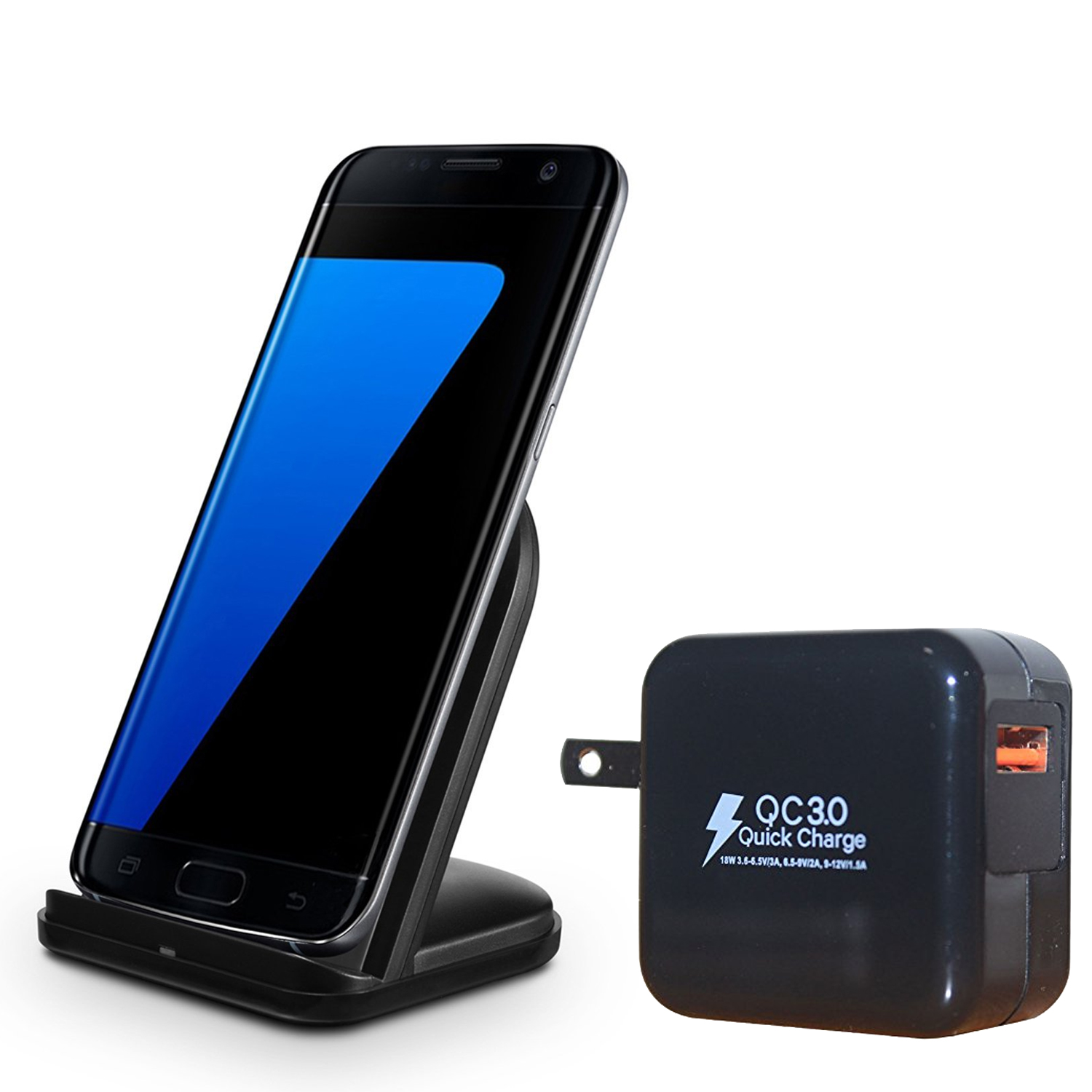 RNDs Fast Charge Wireless Charging Stand for Samsung Galaxy (S8, S8, Plus, S7, S6), Note (5, 8), Microsoft Lumia and other QI Enabled Devices (QC3.0 Compatible Quick Charger included) (black)