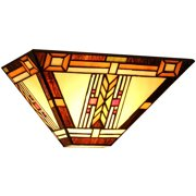 """Chloe Lighting Gode Tiffany-Style 1-Light Mission Wall Sconce, 12"""" Wide"""