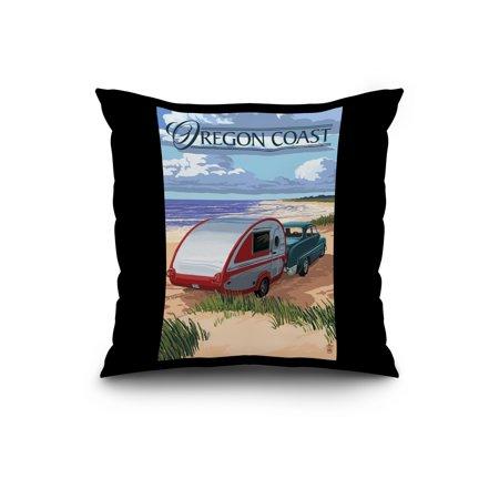 Oregon Coast Retro Camper on Beach Lantern Press Artwork 20x20 Spun Po