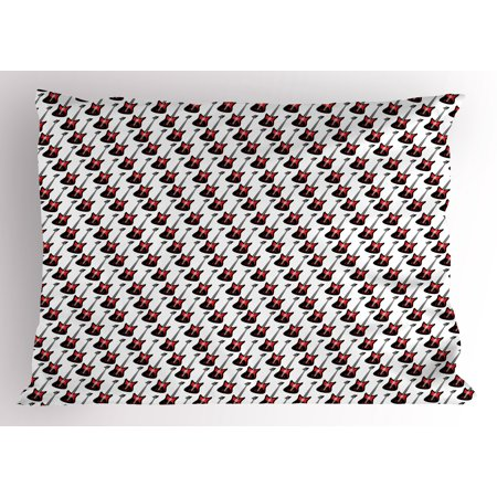 Guitar Pillow Sham Repeating Graphic Electric Guitars in Diagonal Order Rock Music Band Songs, Decorative Standard Size Printed Pillowcase, 26 X 20 Inches, Red Black White, by Ambesonne for $<!---->