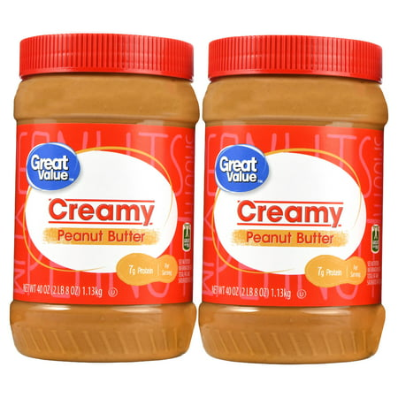 (2 Pack) Great Value Creamy Peanut Butter, 40 oz