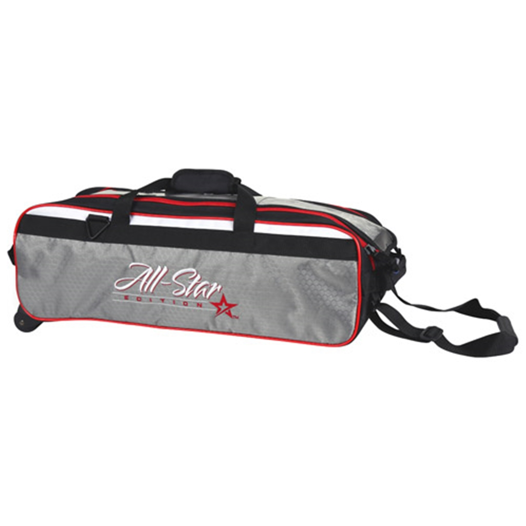 Roto Grip 3 Ball Travel Roller Bowling Bag- All Star Edition (balls only) Black White Red by Roto Grip Bowling Products