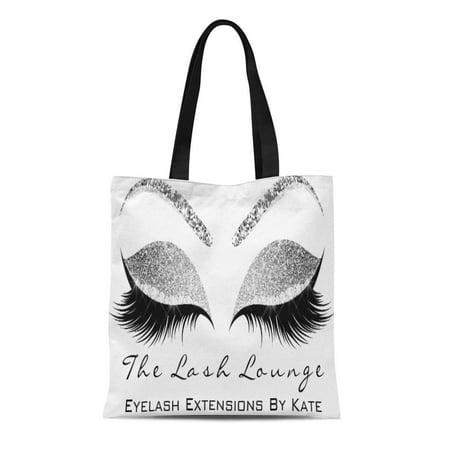 POGLIP Canvas Tote Bag Sparkly Silver Gray Makeup Lashes Beauty Diamond Sleep Name Reusable Handbag Shoulder Grocery Shopping Bags - image 1 de 1