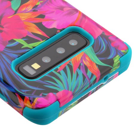 "Samsung Galaxy S10 Plus (6.4"") Phone Case Tuff Hybrid Shockproof Impact Rugged Rubber Dual Layer Hard Soft TPU Protective Hard Cover Rubberized Hibiscus Flowers Case for Samsung Galaxy S10+ / S10 PLUS"