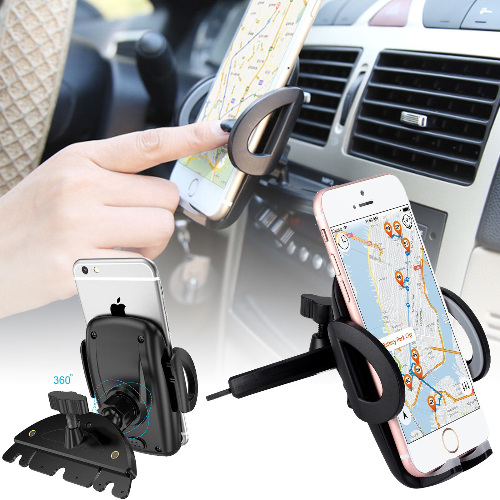 iPod Touch Mpow Universal CD Slot Car Mount Car Cradle With Spring Holder HTC Nexus 5 Sony /& GPS Devices 360 Degree Rotation Phone Holder for iPhone 7//6// 6 Plus// 6S// 5// 5S Car Phone Holder LG
