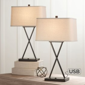 360 Lighting Modern Industrial Table Lamps Set of 2 with Nightlight LED USB  Port Black Linen Shade for Living Room Bedroom