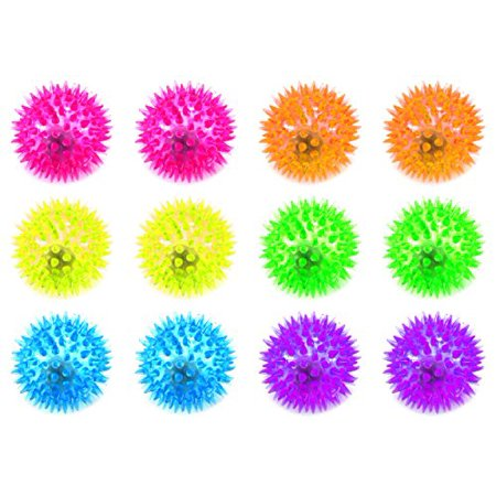 Set of 12 Light Up LED 'Spiked Ball' Children's Kid's Toy Yoyo Ball (Colors May Vary) for $<!---->