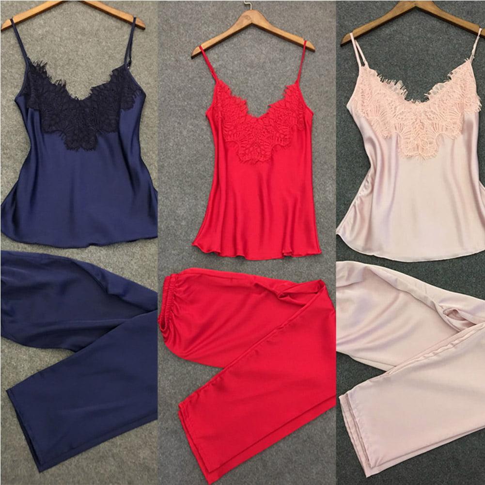 Women Lingerie Laces Pyjamas Camisole Set V-neck Sleepwear Silk Pajamas Set