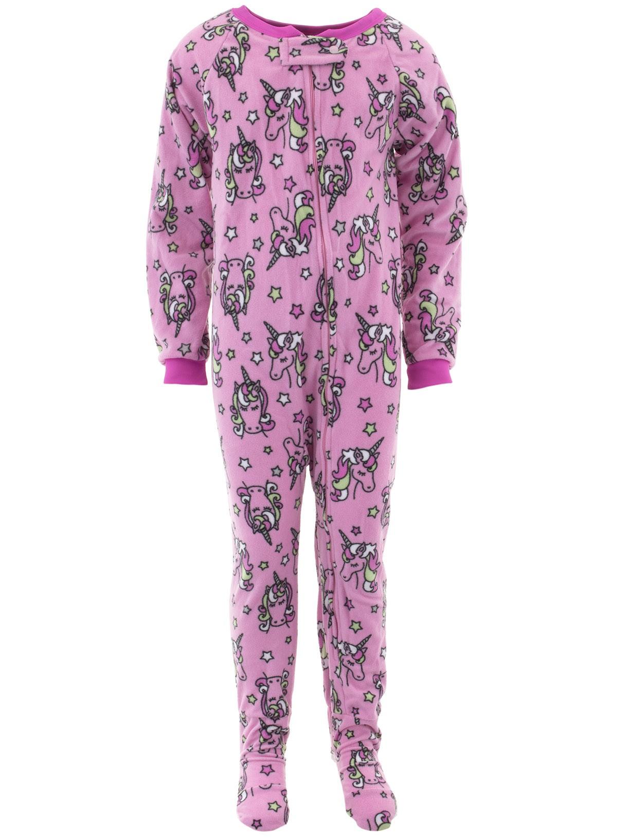 Sweet N Sassy Girls Unicorns Pink Footed Pajamas