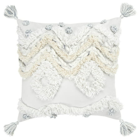 RIZZY HOME T14553 GRAY 100% COTTON 20u0022X20u0022 DECORATIVE POLY FILLED PILLOW