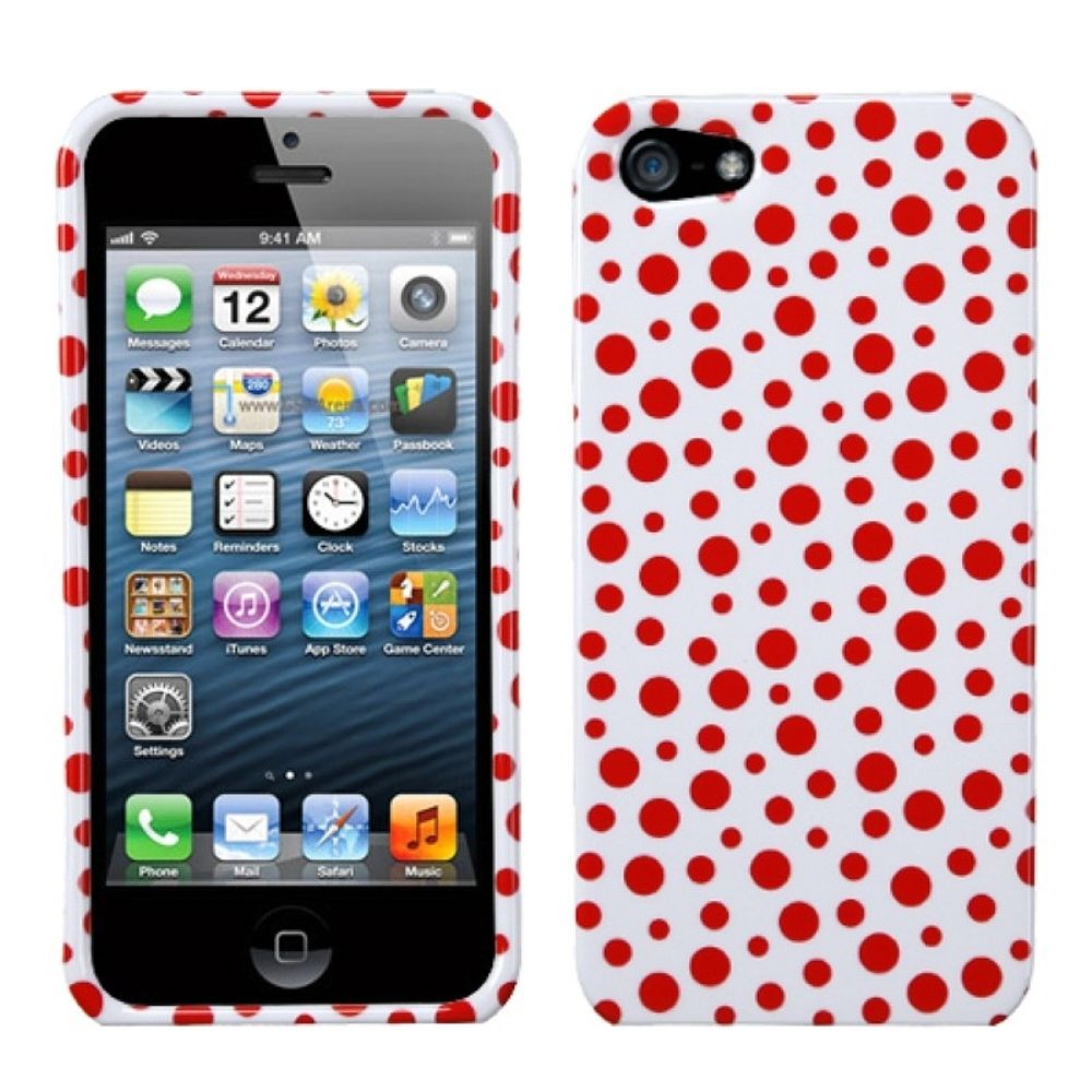 Insten Polka Dots Hard Cover Case For Apple iPhone 5/5S/SE - White/Red