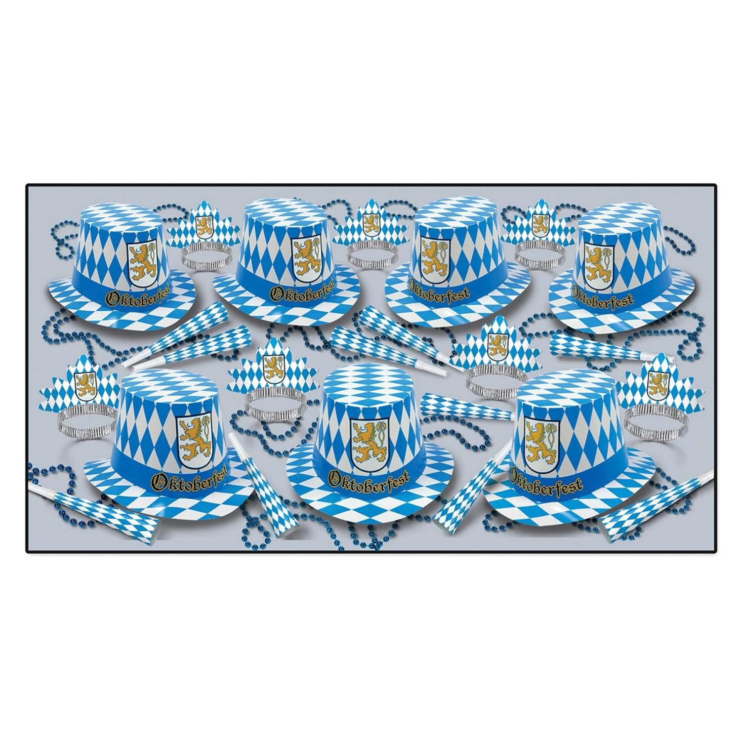 50-Person Set of Oktoberfest Hats, Tiaras, Printed Horns, Party Beads in White, Gold, and Blue