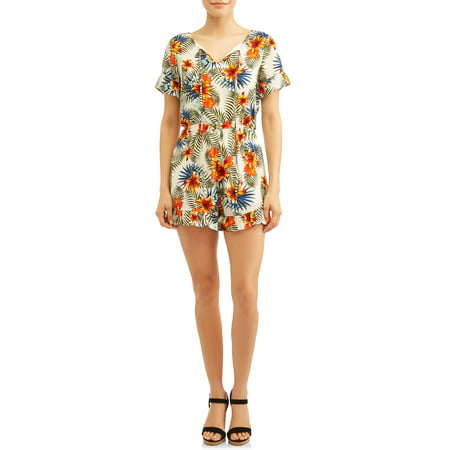 - Women's Printed Romper With Ruffles