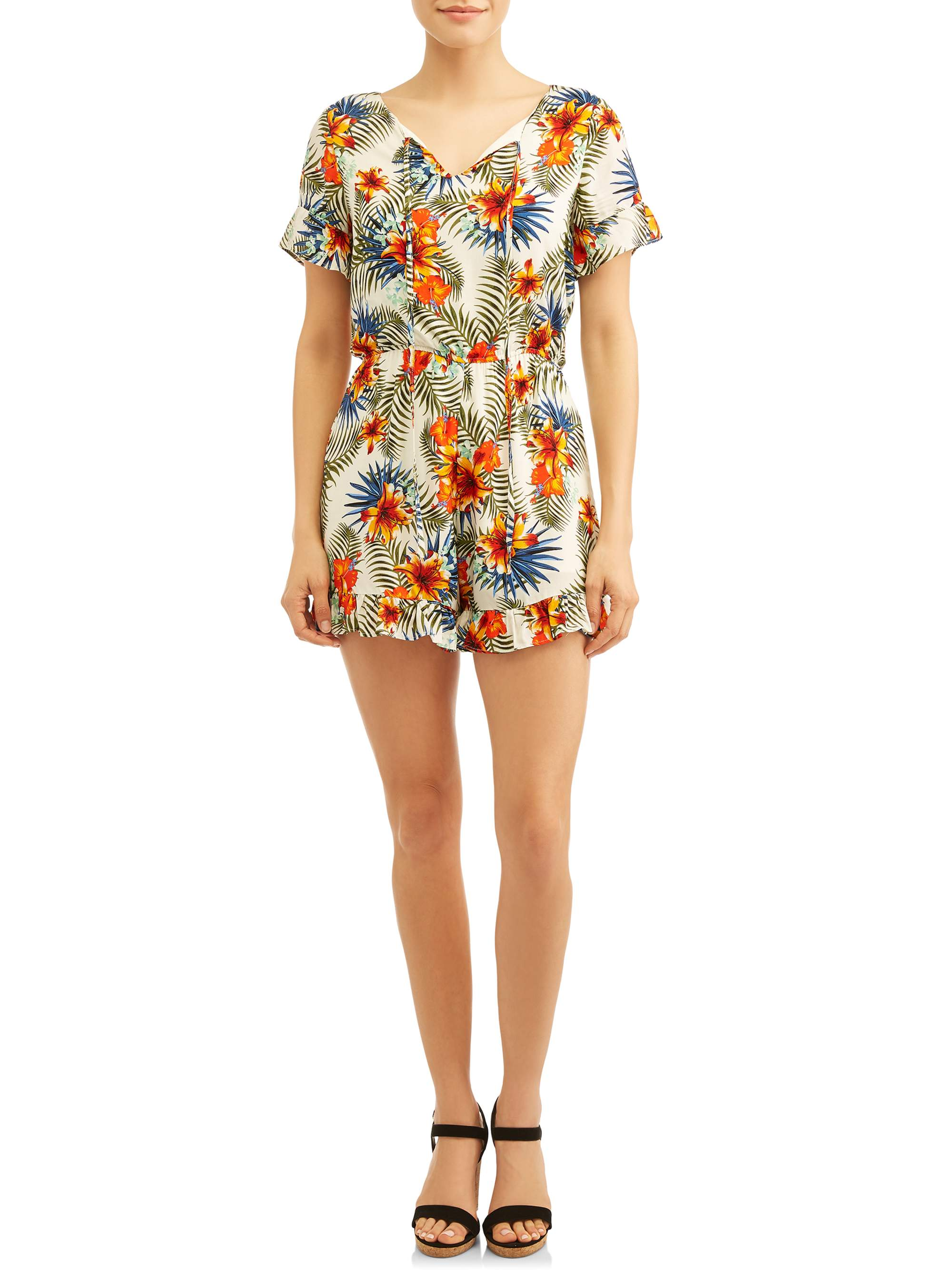 Women's Printed Romper With Ruffles