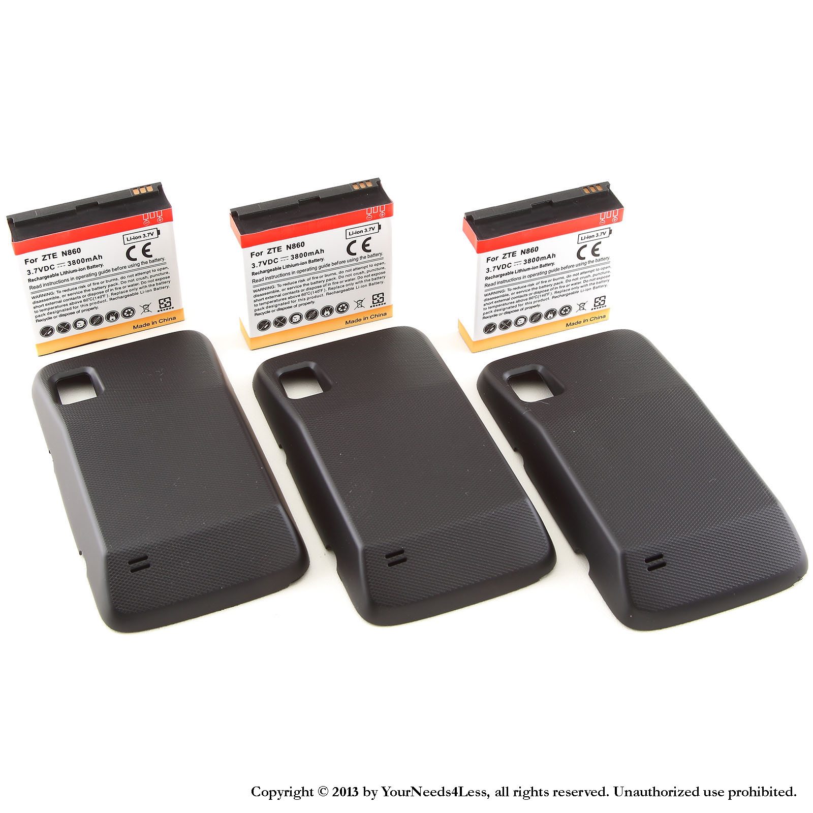 YN4L® 3 X 3800mAh Extended Batteries for ZTE Warp N860 Boost Mobile with Black Extended Back Cover