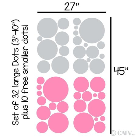 Assorted Vinyl Polka Dots circle wall decals vinyl stickers nursery decor (Light Gray & Pink/set of 32)