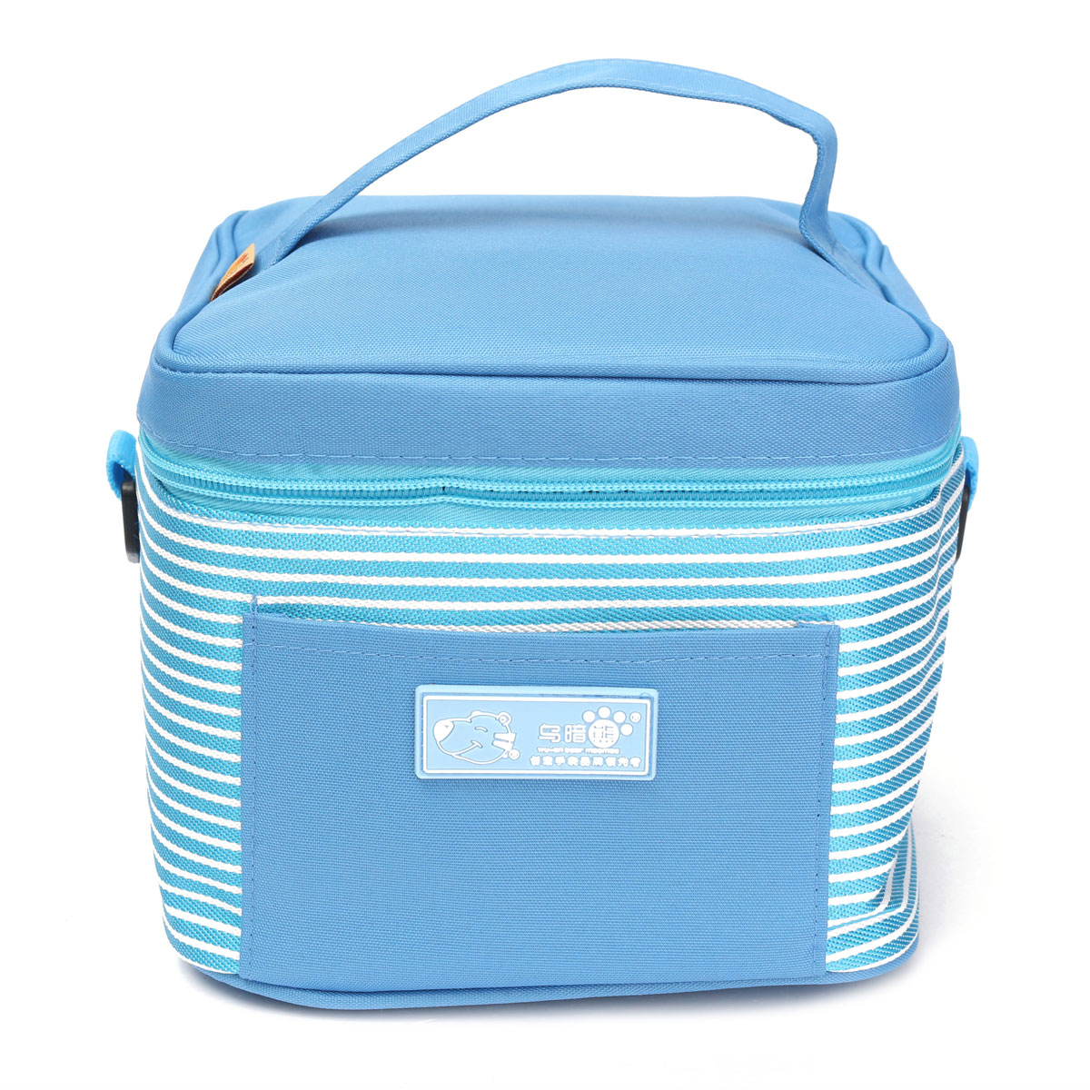 Portable Insulated Thermal Lunch Box Carry Tote Storage Bag Travel Picnic Case,light blue color