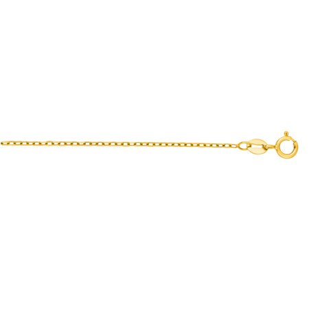 14K Yellow Solid Gold Diamond Cut Faceted Cable Link 1.3mm Chain 16 Necklace Spring Ring Clasp
