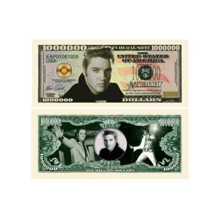 Elvis Presley Million Dollar Bill With Bill Protector  Fake Money  By The Millions Club