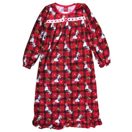 Peanuts Girls Red Flannel Snoopy Dog Nightgown Christmas Holiday Night - Holiday Nightgown